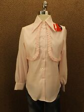 Classy Vtg 60s Mardi Mode PINK WHIPPED CREAM BUTTON DOWN SHIRT Sz 12 Mocked Vest