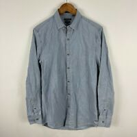 Industrie Mens Button Up Shirt Small Blue Long Sleeve Collared