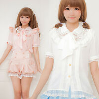 Japanese Sweet Lolita Lace Bow Chiffon Puff Sleeve Square Neck Slim Blouse Tops