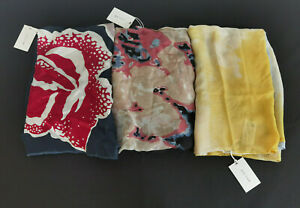 Jigsaw Set Of Three Silk And Cashmere Blend Scarves One Size RRP £120.00 Lot 1