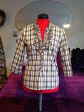 QuickSilver organic cotton shirt, blouse, top with ruffle neck, S, UK 8- 10 vgc,