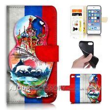 ( For iPod Touch 6 ) Wallet Flip Case Cover AJ40335 Russia Flag