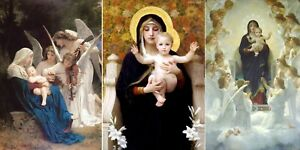 Virgin Mary & Jesus, 3 Paintings by Bouguereau, Giclee Fine Art Print Repro