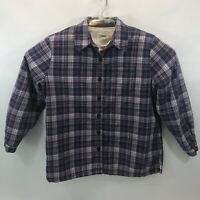 LL Bean Women's Small Flannel Fleece Lining Button Up Shirt Purple Plaid
