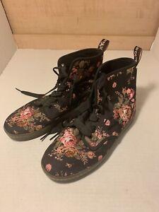 Doc Dr. Martens  Black Victorian Floral Rose Women's Size 8 New