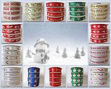Christmas Ribbon 5 Yards (4.5metre) Roll  Satin & Grosgrain Available 16 designs