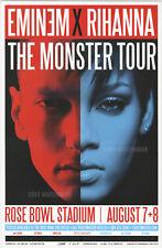 "Eminem X Rihanna Monster Tour Pasadena Concert Poster 11"" x 17"" signed by artist"