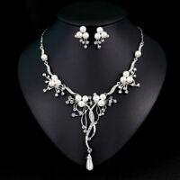 Fashion Crystal Pearl Flower Waterdrop Tassel Necklace Earring Jewelry Set