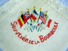 WW1 French Silk Souvenir Handkerchief  Lace and Embroidered  La Bourooule