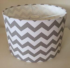 Grey And White Chevron Zig Zag Lampshade Handmade In 20cm Drum, Baby's Nursery