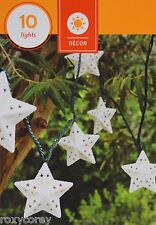 10 Weather Resistant White Star String Lights Indoor/Outdoor Green Wire NIB