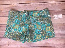 "Helen Jon 3"" Lace Up Green/Orange Print Board Shorts Sz 2 NWT"