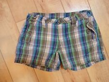 Girl Gap Kids Blue Green Tan Plaid Shirts 7 Plus EUC
