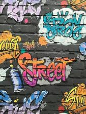 GRAFFITI  WALLPAPER TEENAGE KIDS BLACK BRICK WALL QUALITY WALLPAPER UGEPA L17901