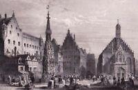 Gravure XIXe Nuremberg Bavière Allemagne Nürnberg Nuremberg German 1840