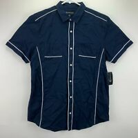 INC International Concepts Mens Piped Ripstop Button Down Shirt Navy Blue M