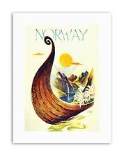 La Norvège Scandinavie VIKING boat river Poster Voyage Toile Art Prints