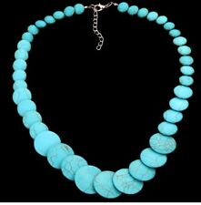 Turquoise Stone Flat Bead Necklace Silver Chain Extension Fashion Charming Choke
