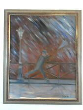 1980 s Original Custom Framed Oil on Canvas Painting Man with Umbrella Rain Wind