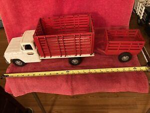 VINTAGE TONKA TOYS FARM HIGH SIDE STAKE RED & WHITE TRUCK & TRAILER SET MOUND MN