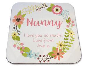 Personalised Printed Coaster Nanny Nan Mum Floral Wreath pretty Birthday gift