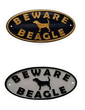 Beagle & Motif Beware Dog Sign - House Garden Door Gate Plaques