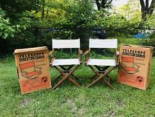 2 Vintage Telescope Directors Folding Canvas Maple Wooden Camping Chairs