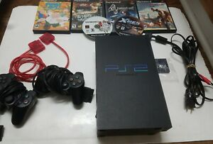 SONY PS2 PLAYSTATION 2 FAT CONSOLE SCPH-50001 BUNDLE 2 CONTROLLERS CORDS 6 GAMES