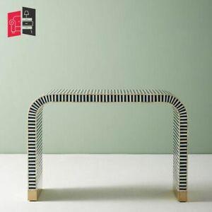 Bone Inlay Optical Design Waterfall Console Table Indigo Blue (MADE TO ORDER