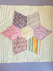 Vintage 1930's Hand-stitched Wall Quilt or Table Top Star Pattern 22 x 19