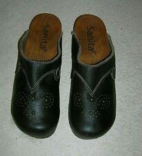 Sanita Brown Leather Wooden Wedge Heel Shoes Clogs Size eu 38 us 7.5-8 Slides