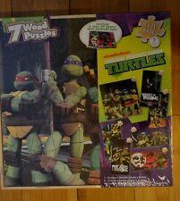 Teenage Mutant Ninja Turtles TMNT 7 Wood Puzzles in Storage Box - NEW