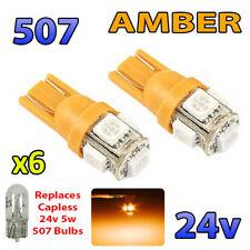 6 x AMBER 24v Capless Hella Spot Light 507 W5W 5 SMD T10 Wedge Bulbs HGV Truck