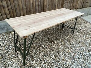 Folding Wooden Trestle Table VGC Rustic Farmhouse Dining Vintage Army Camping