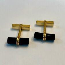 Vintage Tiffany & Co. 14K Yellow Gold Onyx Hexagonal Bar Cufflinks