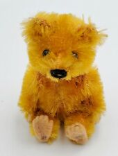 "Schuco Picculo Miniature 2-1/2"" Jointed Blonde Mohair Teddy Bear w/ Felt Pads"