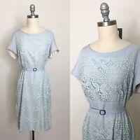 Vintage 60s Pastel Blue Lace Sheath Dress Size Large