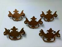 """lot of 5 chippendale matching bright copper drawer handles vintage 2.5""""  salvage"""