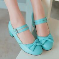 Cute Bowtie  Mary Janes Chunky Block Mid Heels Ankle Strap Womens Lolita Shoes