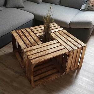 4 Stück Set Weinkisten Obstkisten Dekoration Couchtisch Apfelkisten Holzkiste