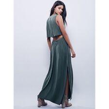 Free People Dress Silk Road Maxi XS Green Modal Back Less Caped Green V Neck