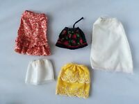 Vintage Barbie Doll Clothes Lot of Retro Mod Skirts Set of 5 Yellow White Red