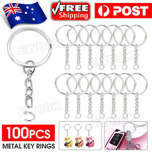 100x Bulk Split Metal Key Rings Keyring Blanks With Link Chains For DIY Craft AU