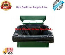 More details for black wheelie bin liners strong heavy duty rubbish sack big refuse bin bags