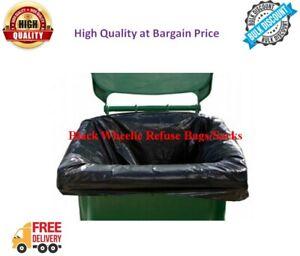 Black Wheelie Bin Liners Strong Heavy Duty Rubbish Sack Big Refuse Bin Bags