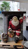 Weihnachtsmann Am Kamin Rentier Santa Figur Lebensgroß Weihnachten Dekoration
