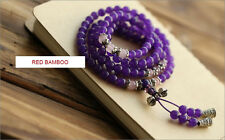 "6mm 108 Purple Chalcedony Buddha Prayer Beads Tibean Silver 28"" Uk"