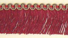 "1.75"" Cut Brush Fringe Cranberry Red Sage Green Gold Match Gimp Beaded Fringe"