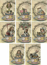 Vintage inspired of Alice in Wonderland in cups small cards tags ATC s/8