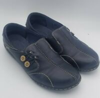 Clarks Blue Leather Side Button Casual Slip On Loafers Shoes Women's Size 10M